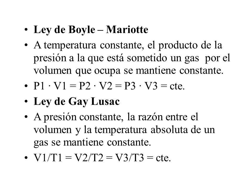 Ley de Boyle – Mariotte A temperatura constante, el producto de la presión a la que está sometido un gas por el volumen que ocupa se mantiene constant