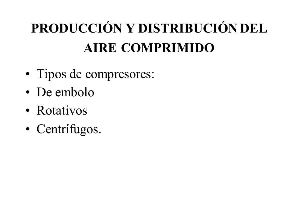 PRODUCCIÓN Y DISTRIBUCIÓN DEL AIRE COMPRIMIDO Tipos de compresores: De embolo Rotativos Centrífugos.