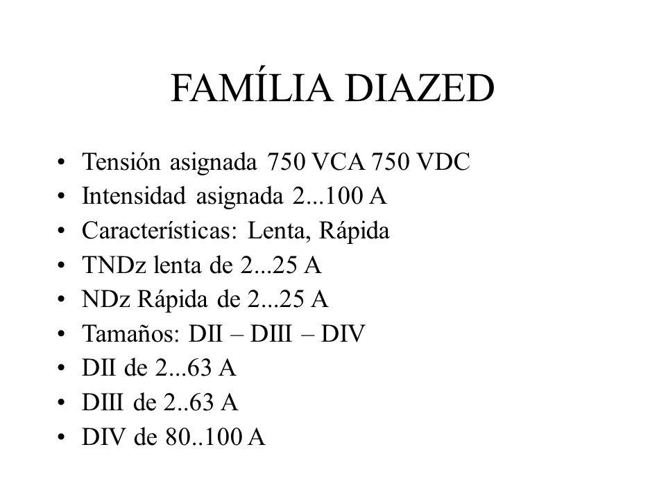 FAMÍLIA DIAZED Tensión asignada 750 VCA 750 VDC Intensidad asignada 2...100 A Características: Lenta, Rápida TNDz lenta de 2...25 A NDz Rápida de 2...