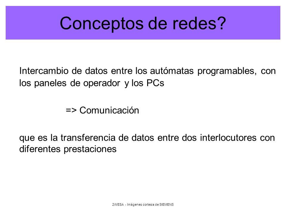 2WESA - Imágenes cortesia de SIEMENS Redes de comunicación Para adaptarse a los diferentes requisitos existen diferentes redes de comunicación, como p.e: –Industrial Ethernet (IEEE 802-3 e IEEE 802.3u) –PROFIBUS (EN 50170) (comunicación entre CPU, PG/PC, TD/OP) –Interface AS-i (EN 50295)