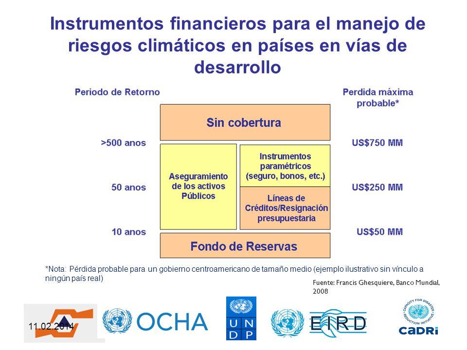 11.02.2014 Instrumentos financieros para el manejo de riesgos climáticos en países en vías de desarrollo Fuente: Francis Ghesquiere, Banco Mundial, 20