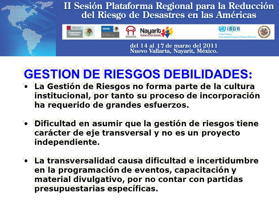 GESTION DE RIESGOS DEBILIDADES : La Gestión de Riesgos no forma parte de la cultura institucional, por tanto su proceso de incorporación ha requerido