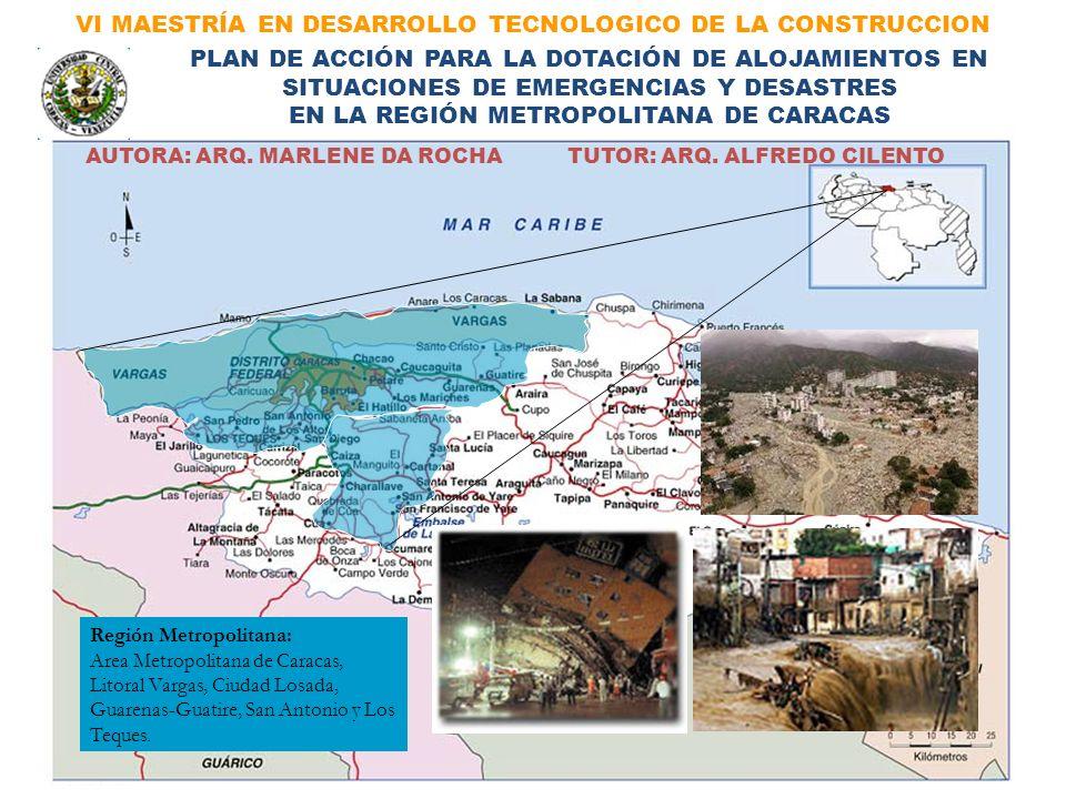VI MAESTRÍA EN DESARROLLO TECNOLOGICO DE LA CONSTRUCCION Región Metropolitana: Area Metropolitana de Caracas, Litoral Vargas, Ciudad Losada, Guarenas-
