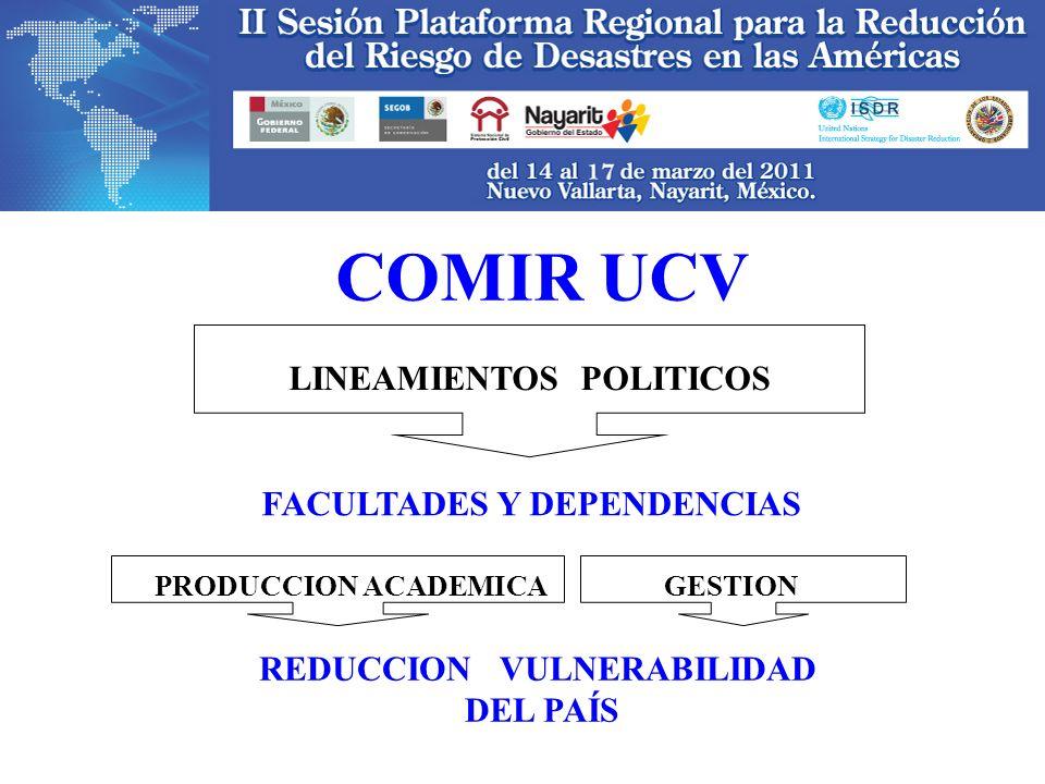 COMIR UCV REDUCCION VULNERABILIDAD DEL PAÍS LINEAMIENTOS POLITICOS FACULTADES Y DEPENDENCIAS PRODUCCION ACADEMICA GESTION