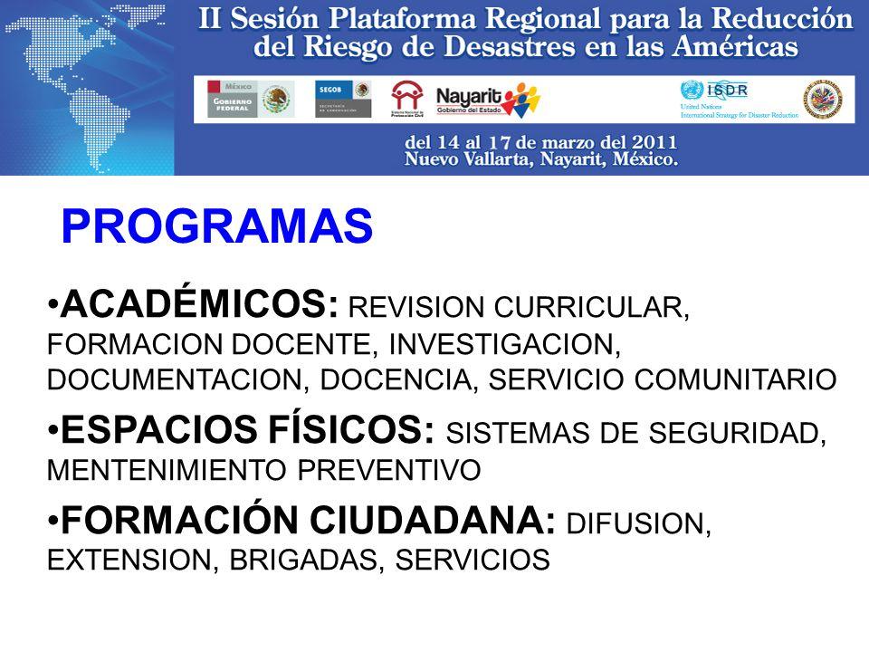 ACADÉMICOS: REVISION CURRICULAR, FORMACION DOCENTE, INVESTIGACION, DOCUMENTACION, DOCENCIA, SERVICIO COMUNITARIO ESPACIOS FÍSICOS: SISTEMAS DE SEGURID