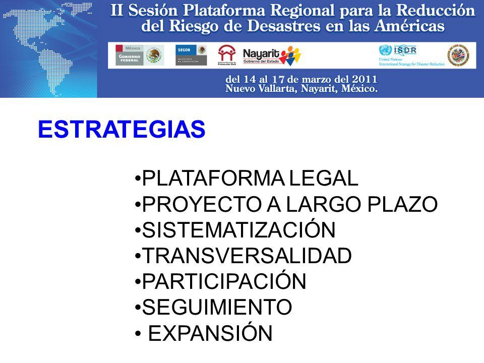 PLATAFORMA LEGAL PROYECTO A LARGO PLAZO SISTEMATIZACIÓN TRANSVERSALIDAD PARTICIPACIÓN SEGUIMIENTO EXPANSIÓN ESTRATEGIAS