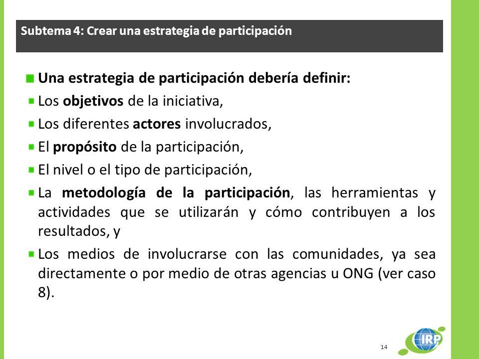 Subtema 4: Crear una estrategia de participación Una estrategia de participación debería definir: Los objetivos de la iniciativa, Los diferentes actor