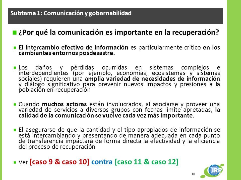 Subtema 1: Comunicación y gobernabilidad ¿Por qué la comunicación es importante en la recuperación? El intercambio efectivo de información es particul