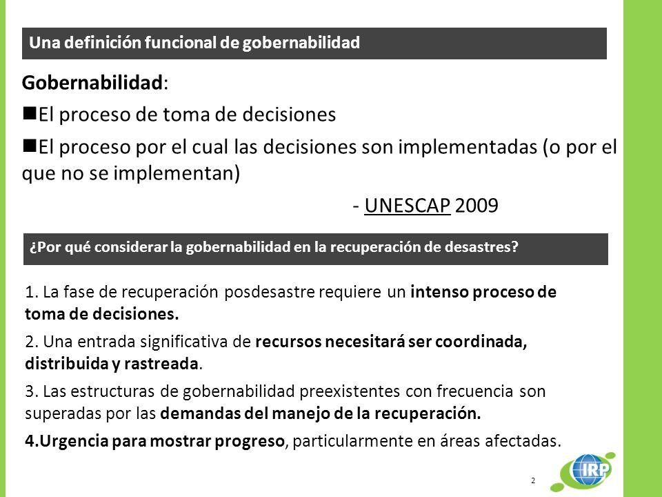 Una definición funcional de gobernabilidad Gobernabilidad: El proceso de toma de decisiones El proceso por el cual las decisiones son implementadas (o
