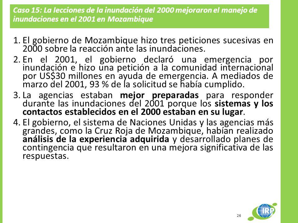 Caso 15: La lecciones de la inundación del 2000 mejoraron el manejo de inundaciones en el 2001 en Mozambique 1.El gobierno de Mozambique hizo tres pet