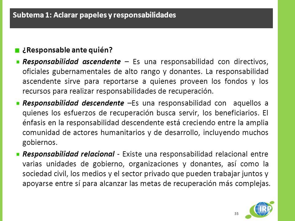 Subtema 1: Aclarar papeles y responsabilidades ¿Responsable ante quién? Responsabilidad ascendente – Es una responsabilidad con directivos, oficiales