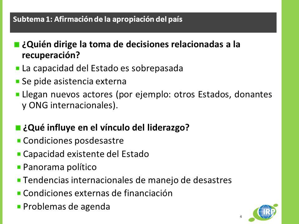 Subtema 1: Afirmación de la apropiación del país ¿Quién dirige la toma de decisiones relacionadas a la recuperación? La capacidad del Estado es sobrep