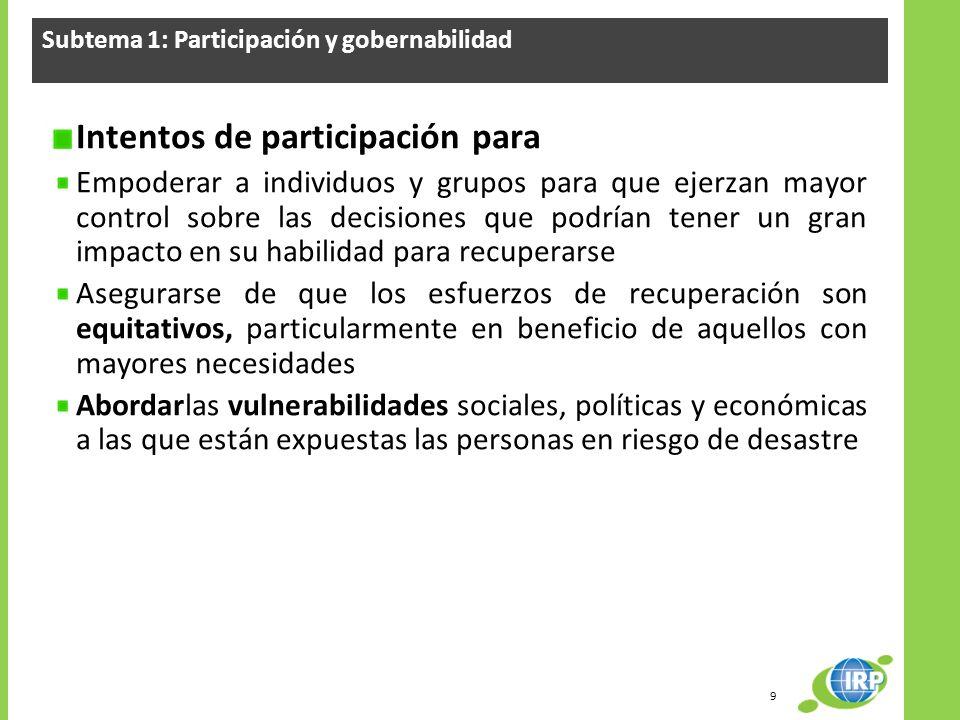 Subtema 1: Participación y gobernabilidad Intentos de participación para Empoderar a individuos y grupos para que ejerzan mayor control sobre las deci