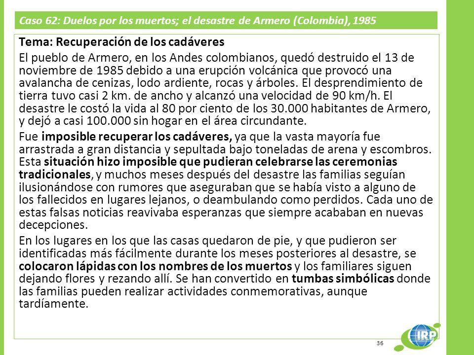 Caso 62: Duelos por los muertos; el desastre de Armero (Colombia), 1985 Tema: Recuperación de los cadáveres El pueblo de Armero, en los Andes colombia