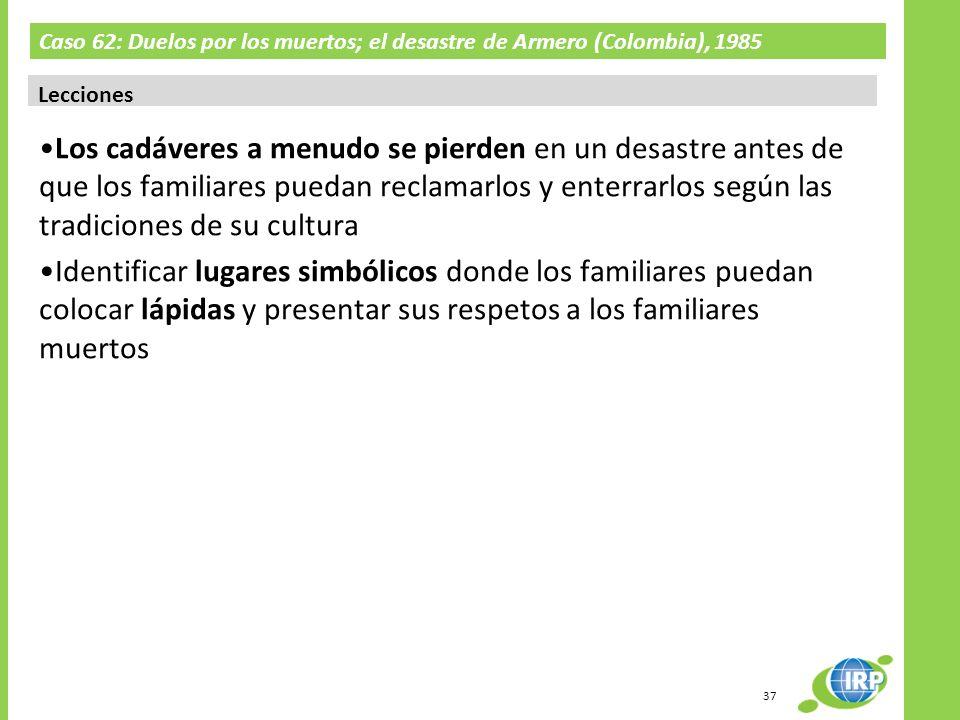 Caso 62: Duelos por los muertos; el desastre de Armero (Colombia), 1985 Lecciones Los cadáveres a menudo se pierden en un desastre antes de que los fa