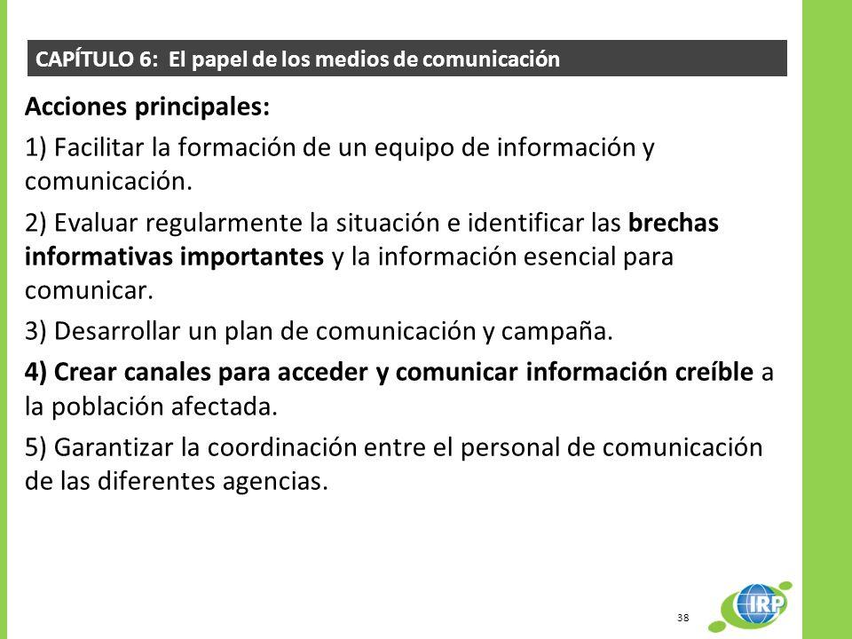 CAPÍTULO 6: El papel de los medios de comunicación Acciones principales: 1) Facilitar la formación de un equipo de información y comunicación. 2) Eval