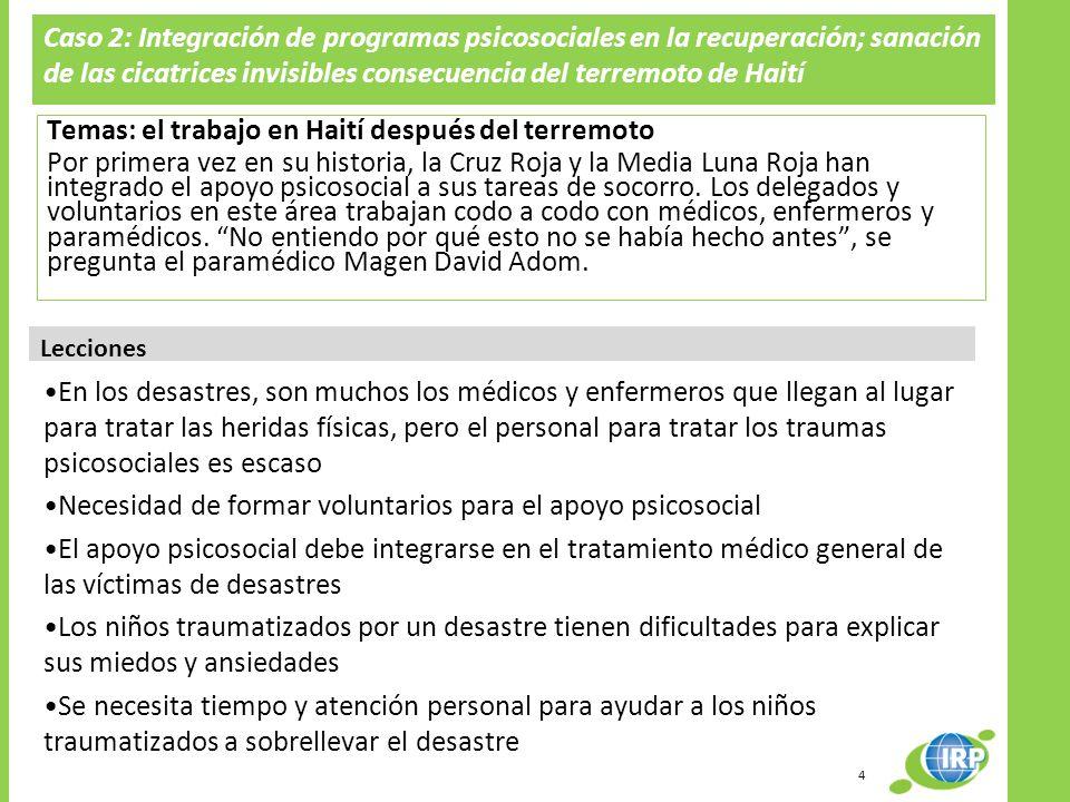 Caso 2: Integración de programas psicosociales en la recuperación; sanación de las cicatrices invisibles consecuencia del terremoto de Haití Temas: el