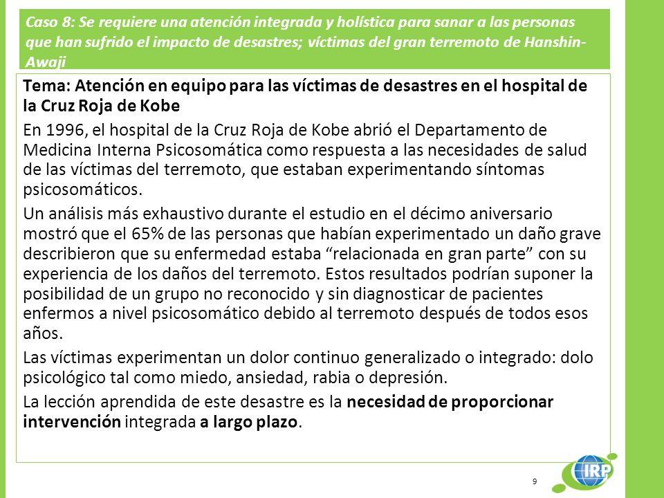 Caso 8: Se requiere una atención integrada y holística para sanar a las personas que han sufrido el impacto de desastres; víctimas del gran terremoto