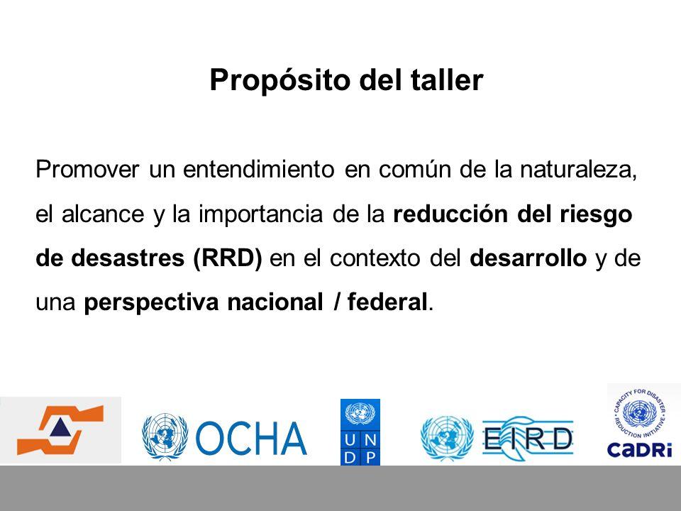 Objetivos del taller Conversar acerca de lo que constituye el riesgo de desastres y la forma en que éste se encuentra vinculado al desarrollo.