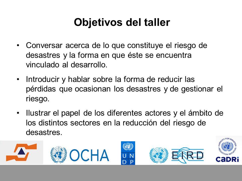 Resultados del taller El establecimiento de una base de conocimiento común que sea pertinente para la naturaleza multisectorial y multidimensional del riesgo de desastres.
