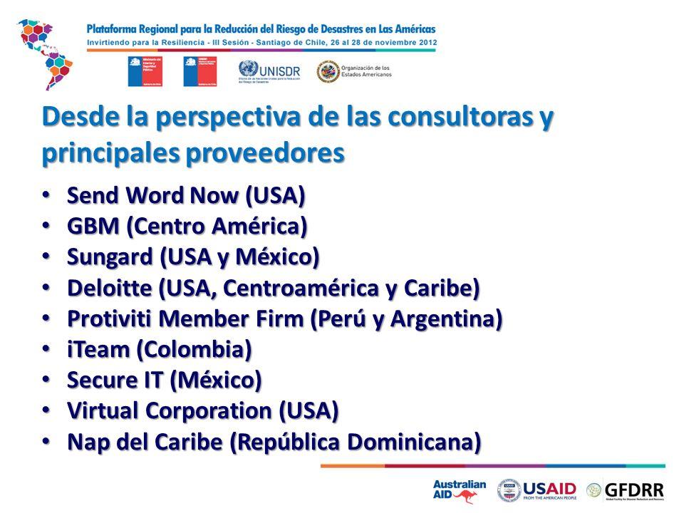 Desde la perspectiva de las consultoras y principales proveedores Send Word Now (USA) Send Word Now (USA) GBM (Centro América) GBM (Centro América) Su