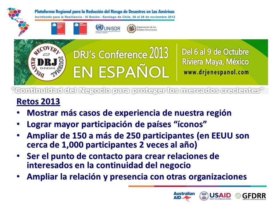 Retos 2013 Mostrar más casos de experiencia de nuestra región Mostrar más casos de experiencia de nuestra región Lograr mayor participación de países