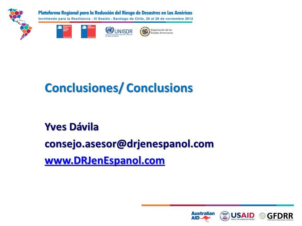 Conclusiones/ Conclusions Yves Dávila consejo.asesor@drjenespanol.com www.DRJenEspanol.com