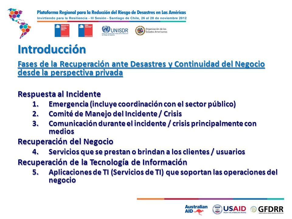 Introducción Fases de la Recuperación ante Desastres y Continuidad del Negocio desde la perspectiva privada Respuesta al Incidente 1.Emergencia (inclu