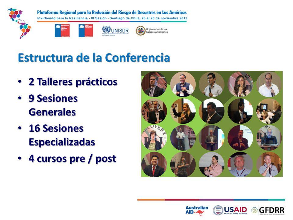 Estructura de la Conferencia 2 Talleres prácticos 2 Talleres prácticos 9 Sesiones Generales 9 Sesiones Generales 16 Sesiones Especializadas 16 Sesione