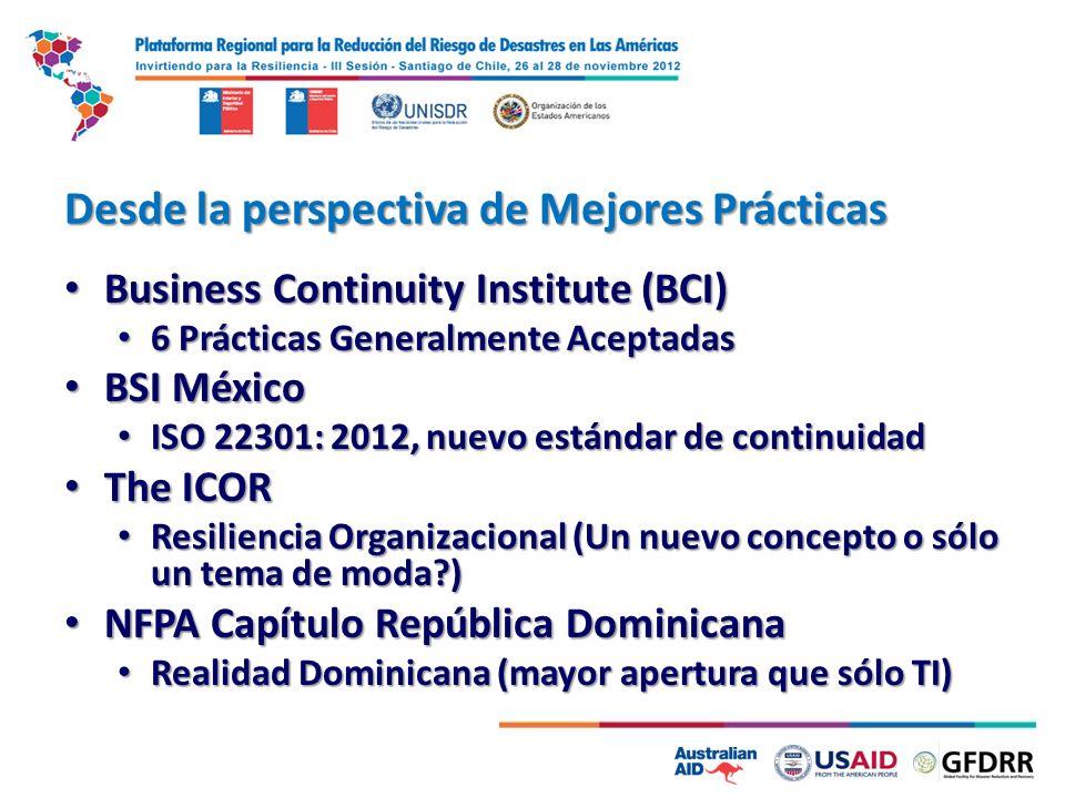 Desde la perspectiva de Mejores Prácticas Business Continuity Institute (BCI) Business Continuity Institute (BCI) 6 Prácticas Generalmente Aceptadas 6