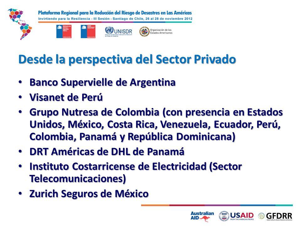 Desde la perspectiva del Sector Privado Banco Supervielle de Argentina Banco Supervielle de Argentina Visanet de Perú Visanet de Perú Grupo Nutresa de
