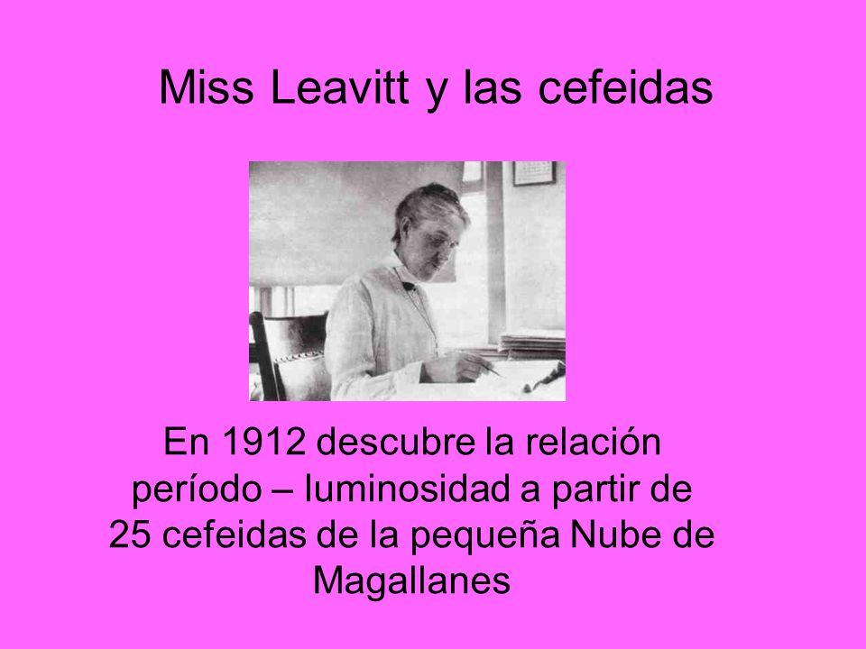 Miss Leavitt y las cefeidas En 1912 descubre la relación período – luminosidad a partir de 25 cefeidas de la pequeña Nube de Magallanes