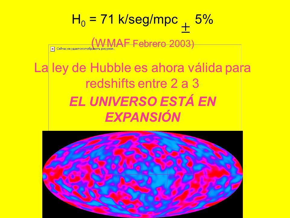 H 0 = 71 k/seg/mpc 5% ( WMAF Febrero 2003) La ley de Hubble es ahora válida para redshifts entre 2 a 3 EL UNIVERSO ESTÁ EN EXPANSIÓN