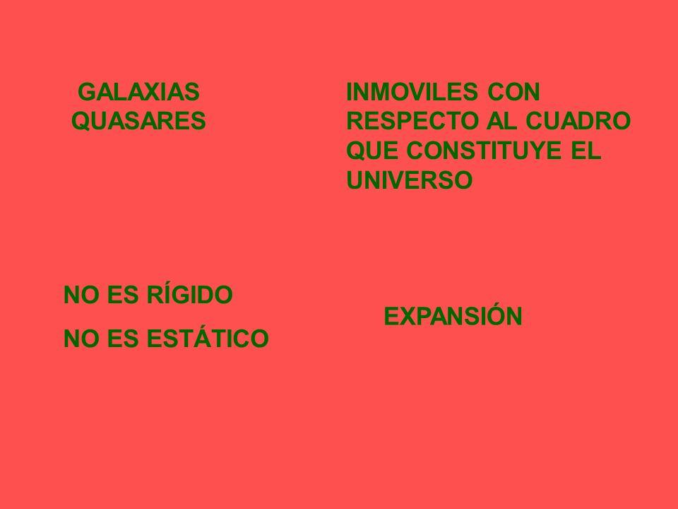 GALAXIAS QUASARES INMOVILES CON RESPECTO AL CUADRO QUE CONSTITUYE EL UNIVERSO NO ES RÍGIDO NO ES ESTÁTICO EXPANSIÓN