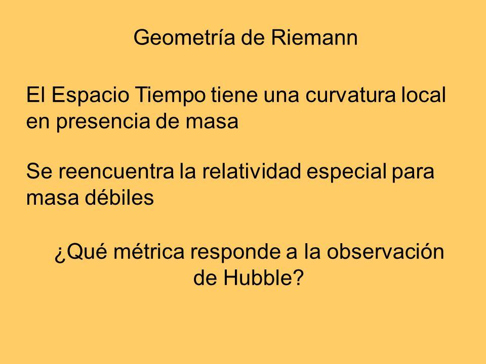 Geometría de Riemann El Espacio Tiempo tiene una curvatura local en presencia de masa Se reencuentra la relatividad especial para masa débiles ¿Qué mé