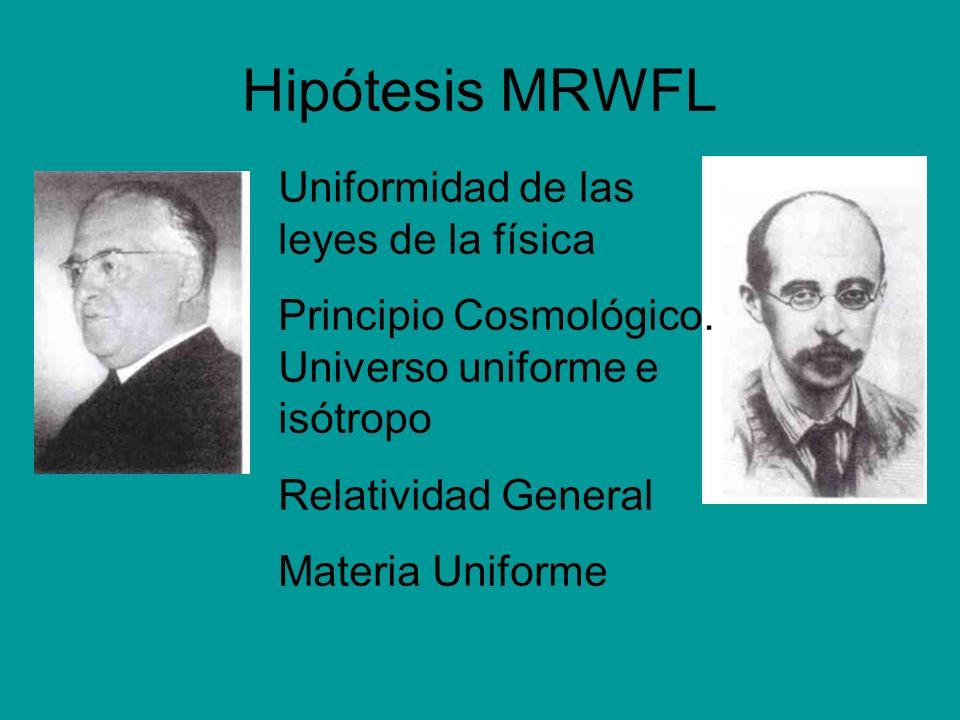 Hipótesis MRWFL Uniformidad de las leyes de la física Principio Cosmológico. Universo uniforme e isótropo Relatividad General Materia Uniforme