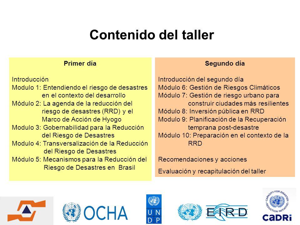 Contenido del taller Primer día Introducción Modulo 1: Entendiendo el riesgo de desastres en el contexto del desarrollo Módulo 2: La agenda de la redu