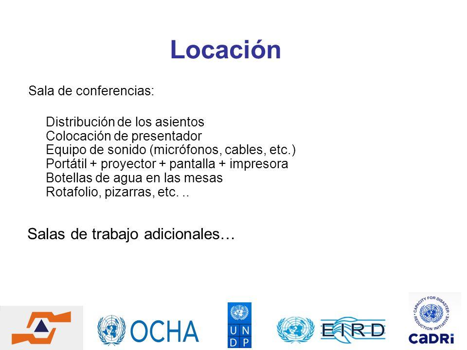 Locación Sala de conferencias: Distribución de los asientos Colocación de presentador Equipo de sonido (micrófonos, cables, etc.) Portátil + proyector