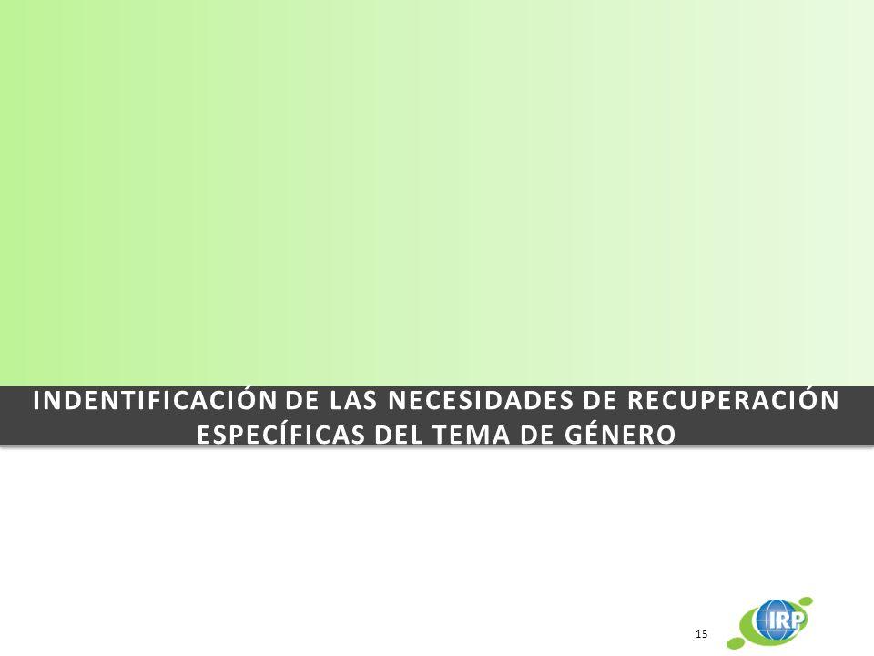 INDENTIFICACIÓN DE LAS NECESIDADES DE RECUPERACIÓN ESPECÍFICAS DEL TEMA DE GÉNERO 15