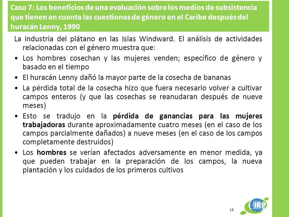Caso 7: Los beneficios de una evaluación sobre los medios de subsistencia que tienen en cuenta las cuestiones de género en el Caribe después del huracán Lenny, 1990 La industria del plátano en las Islas Windward.