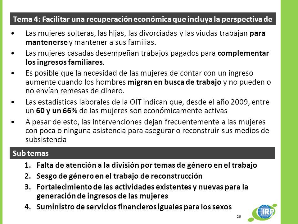 Tema 4: Facilitar una recuperación económica que incluya la perspectiva de género Las mujeres solteras, las hijas, las divorciadas y las viudas trabajan para mantenerse y mantener a sus familias.