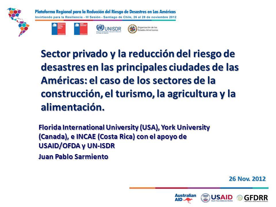 Estudio sobre la participación del sector privado en la reducción de riesgos de desastre, y un análisis de las actuales medidas gubernamentales que fomentan y apoyan los movimientos del sector privado hacia un mayor negocio sostenible y, por tanto, las sociedades más resilientes a los desastres.