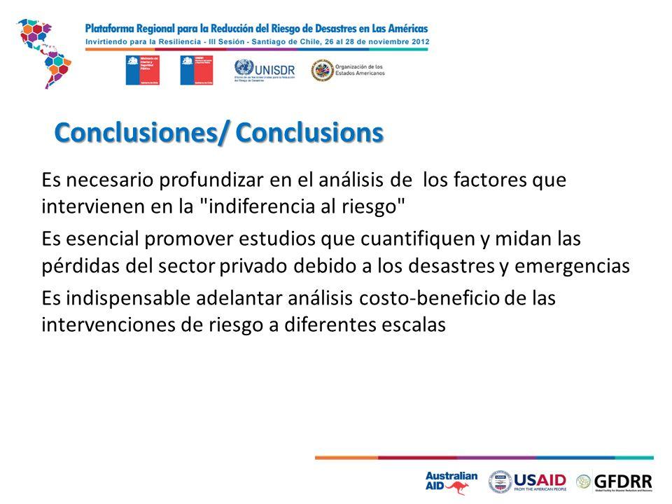 Conclusiones/ Conclusions Es necesario profundizar en el análisis de los factores que intervienen en la