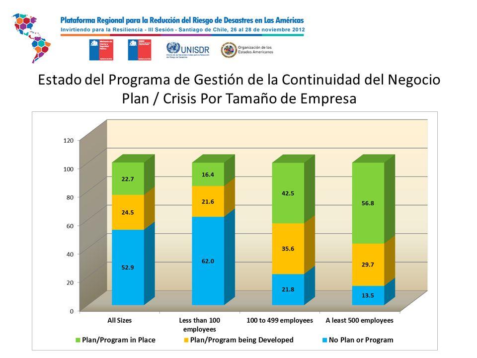 Estado del Programa de Gestión de la Continuidad del Negocio Plan / Crisis Por Tamaño de Empresa