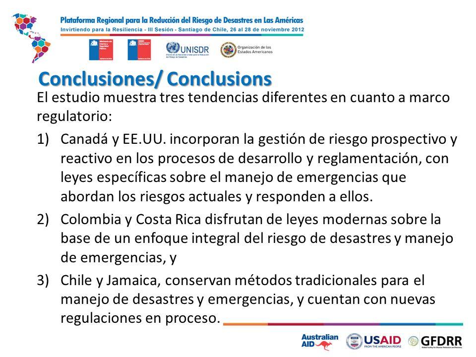 Conclusiones/ Conclusions El estudio muestra tres tendencias diferentes en cuanto a marco regulatorio: 1)Canadá y EE.UU. incorporan la gestión de ries