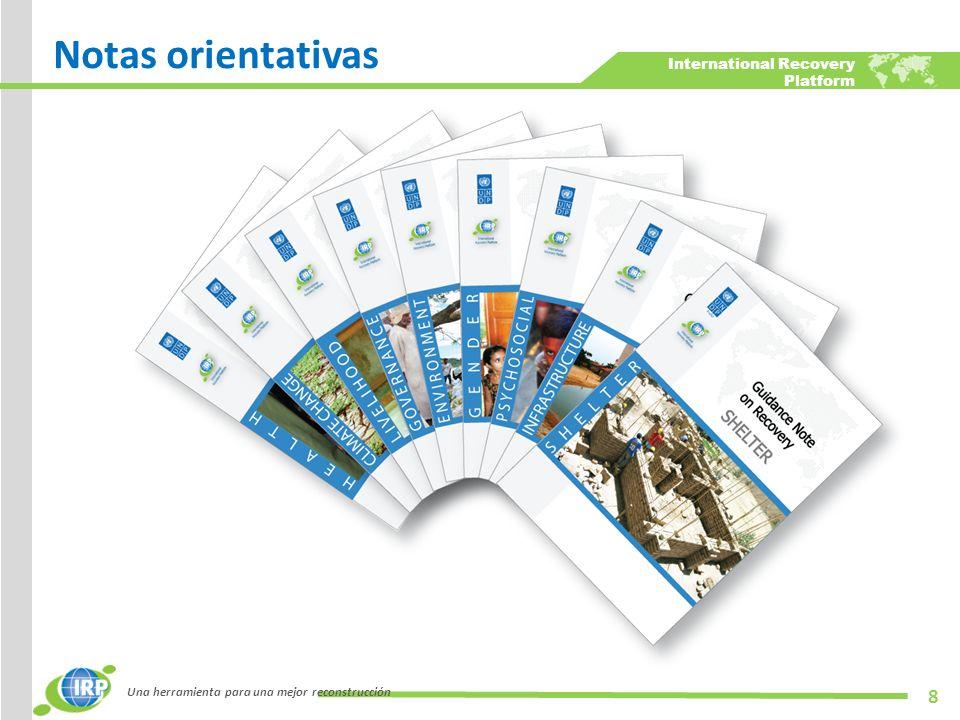 International Recovery Platform Una herramienta para una mejor reconstrucción 19 Programa de las Naciones Unidas para el Manejo de Desastres (DMTP)