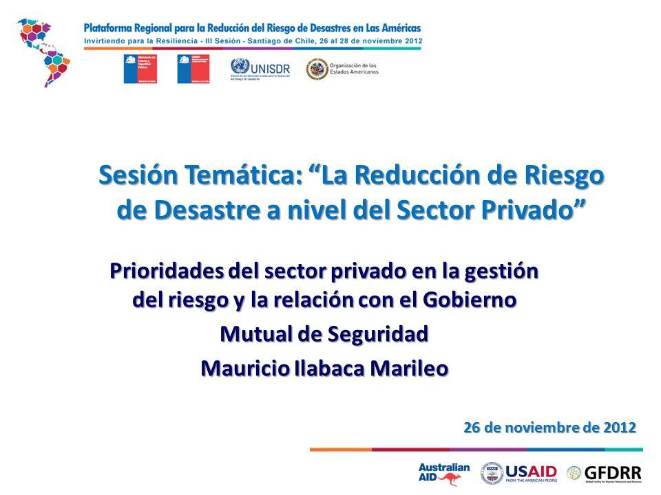 Sesión Temática: La Reducción de Riesgo de Desastre a nivel del Sector Privado Prioridades del sector privado en la gestión del riesgo y la relación con el Gobierno Mutual de Seguridad Mauricio Ilabaca Marileo 26 de noviembre de 2012