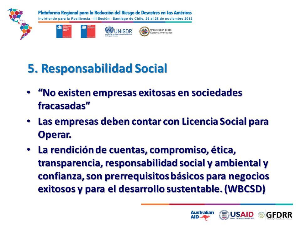 5. Responsabilidad Social No existen empresas exitosas en sociedades fracasadas No existen empresas exitosas en sociedades fracasadas Las empresas deb