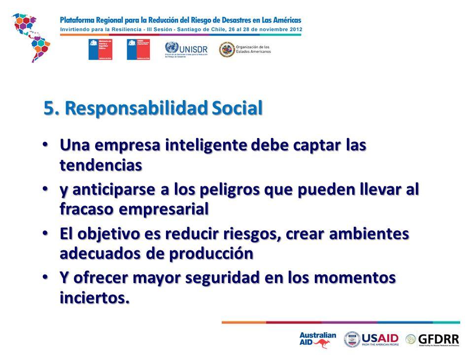 5. Responsabilidad Social Una empresa inteligente debe captar las tendencias Una empresa inteligente debe captar las tendencias y anticiparse a los pe