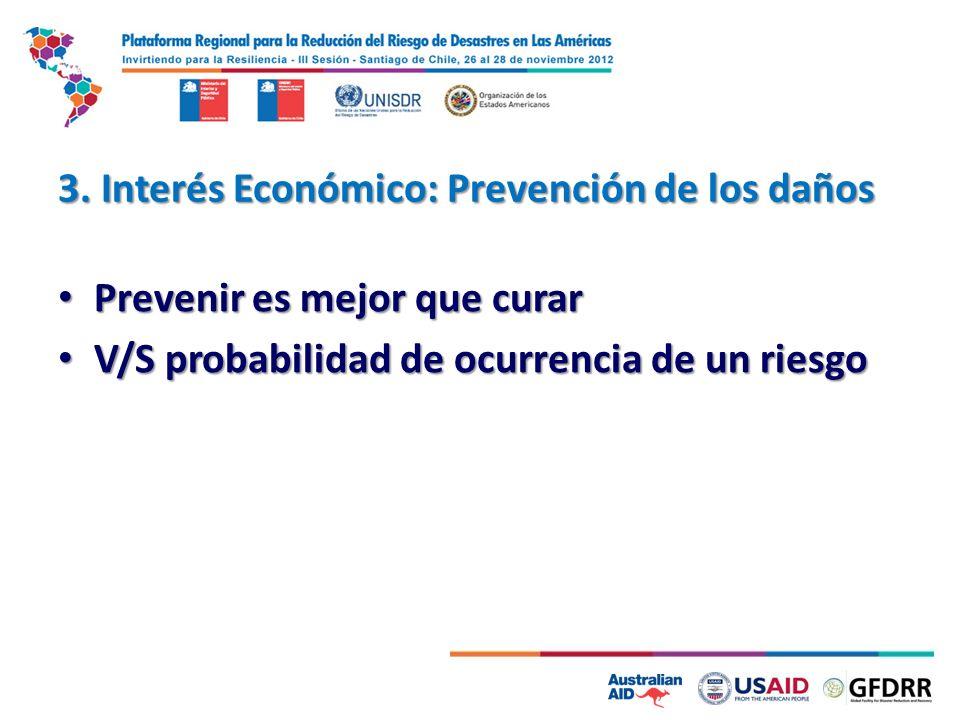 3. Interés Económico: Prevención de los daños Prevenir es mejor que curar Prevenir es mejor que curar V/S probabilidad de ocurrencia de un riesgo V/S